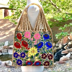 Mexican Handwoven Tote Bag - Hand Embroidered